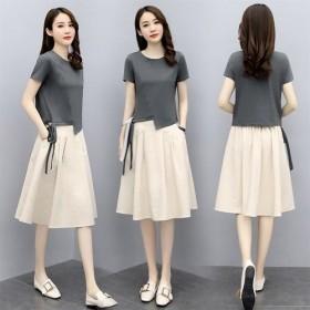 上衣/套装短袖女装夏季潮韩版大码宽松裙子套装两件套