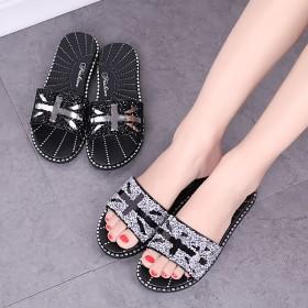拖鞋女夏季新款外穿米字型水钻简约休闲防滑韩版凉拖