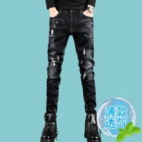 夏季破洞薄款弹力牛仔裤男裤子韩版修身小脚男士长裤