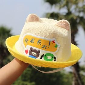 2020新款儿童防晒草帽卡通防紫外线可爱遮阳帽夏天