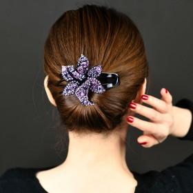 盘发发夹头饰韩国一字夹子优雅花朵妈妈盘发器女士后脑