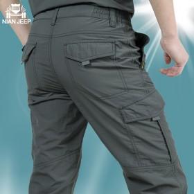 吉普盾夏季薄款男裤休闲宽松多袋工装透气速干防水裤
