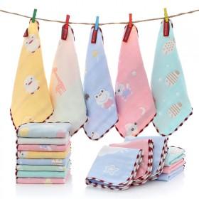 5条儿童毛巾纯棉纱布6六层婴儿宝宝洗脸纯棉方巾