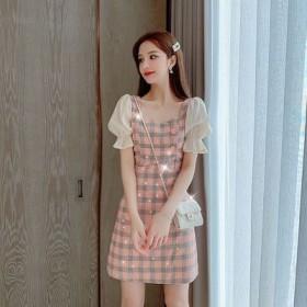 夏季仙女泡泡袖短袖方领气质收腰显瘦雪纺格子连衣裙