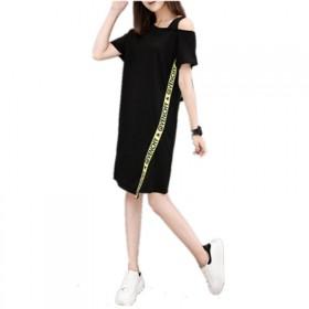 2020夏季新款露肩吊带宽松中长款短袖T恤女大码