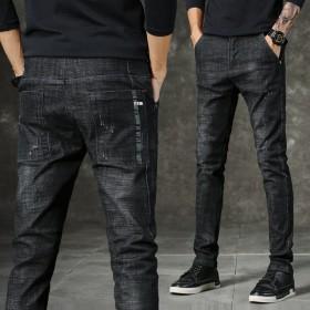 夏季弹力牛仔裤男士薄款韩版修身小脚直筒青年休闲裤