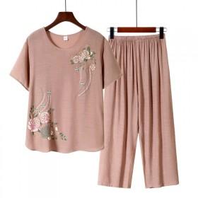 中老年妈妈装女装T恤2020夏季新款仿棉麻妈妈两件