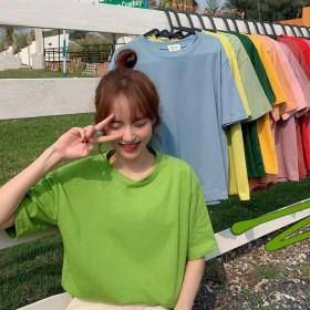 2020夏装新款基础纯色T恤女韩版chic简约宽