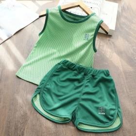 儿童夏季运动套装男童女童速干透气运动背心套装小孩子
