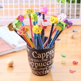 50支HB卡通铅笔带橡皮檫学生学习书写用品