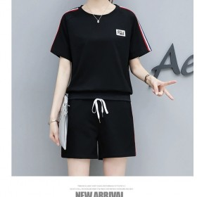 棉 2020夏季韩版运动时尚休闲套装女短袖短裤套