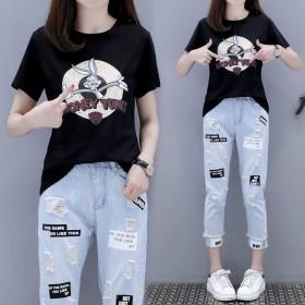 单件/套装女2020夏季新款韩版学生宽松T恤九分牛