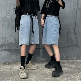韩版ins复古浅蓝色2020新款牛仔裤直...