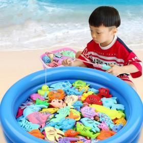 儿童钓鱼玩具池套装家庭广场戏水磁性钓鱼竿男孩女孩