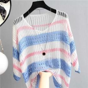 彩色镂空条纹冰丝针织衫宽松复古风套头薄款防晒衣