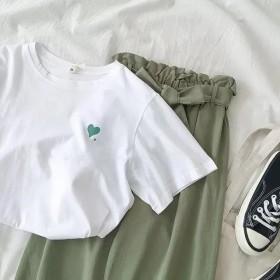 夏季新款韩版ing网红哈伦裤套装女学生百搭短袖T恤