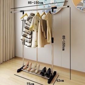 阳台不锈钢落地晾衣架室内家用简易折叠挂衣架卧室
