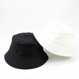 韩版帽子夏天遮阳太阳帽黑白纯棉光板休闲男女渔夫帽夏
