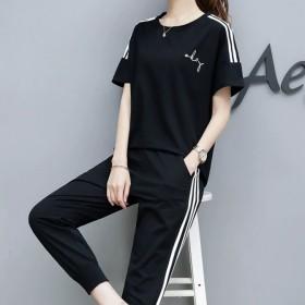 2020夏季新款韩版休闲套装女减龄时尚潮流运动套装
