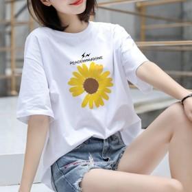 2020夏季新款韩版时尚气质印花宽松纯棉短袖t恤女