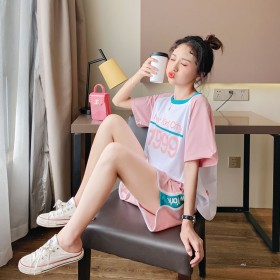 网红两件套时尚套装女学生韩版宽松夏装