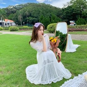 仙女裙长款超仙法国小众时尚气质娃娃领喇叭袖白色a字