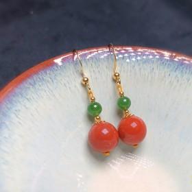 南红玛瑙满肉柿子红短款耳环