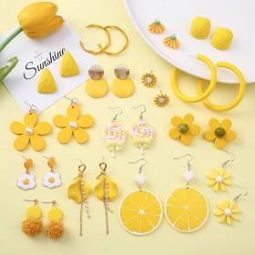 黄色系柠檬小清新耳钉女夏天新款雏菊百搭耳坠韩国网红