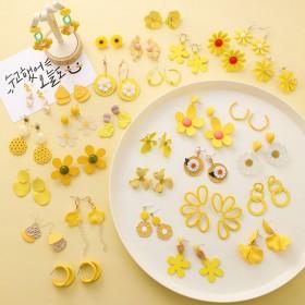 甜美夏季黄色系耳环清新糖果色个性花朵几何耳饰简约百