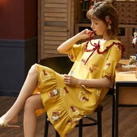 睡衣女士夏天纯棉睡裙女韩版可爱学生加大码少女孕妇家