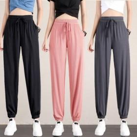 冰丝运动裤女束脚高腰垂感瑜伽夏季薄款休闲裤