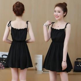 2020夏装新款韩版修身显瘦时尚露肩吊带无袖连衣裙