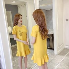 夏季新款宽松腰T恤型连衣裙女韩版短袖印花鱼尾裙