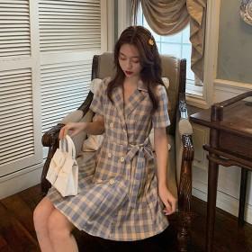 夏季新款小清新小个子显高收腰显瘦西装领格子气质短裙