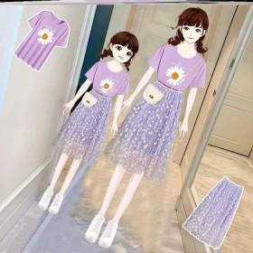 小雏菊网纱裙套装短袖母女两件套垂坠感中长裙