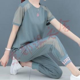 夏季运动套装女闺蜜韩版2020新款宽松大码短袖束脚