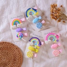 夏季儿童发夹韩版彩虹糖果顶夹公主可爱边夹头饰品