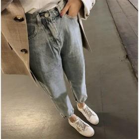 高腰膝盖破洞常规牛仔裤女韩版九分乞丐裤学生老爹裤子