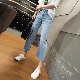 冰丝牛仔裤女宽松韩版学生高腰九分直筒夏季薄款显瘦天