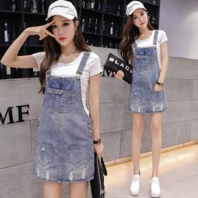夏季新款宽松牛仔背带裙女韩版短裙连衣裙学生法式