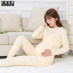 100%棉孕妇秋衣秋裤套装纯棉大码月子服裤腰可调节
