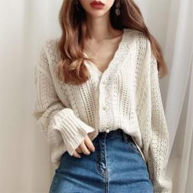 毛衣外套女V领2020春秋新款韩版学生镂空上衣