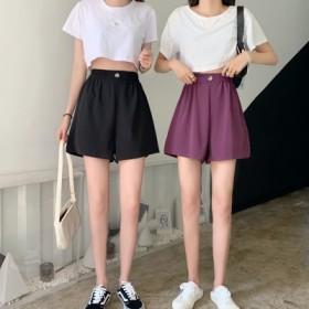 夏季2020年新款休闲裤女ins显瘦阔腿裤高腰短裤