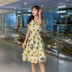 2020年夏季新款时尚气质无袖显瘦连衣裙韩版印花圆