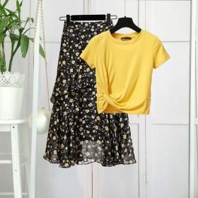 2020夏新款T恤套装裙子两件套女学生韩版不规则