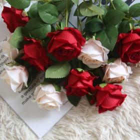 品质仿真玫瑰花 5枝 家居装饰花摆件