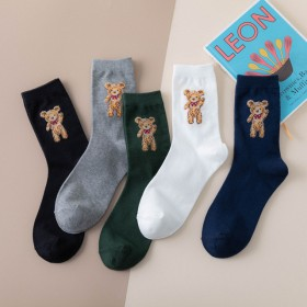 夏新款英伦风校园风卡通小熊 女士棉袜长筒袜子WBL