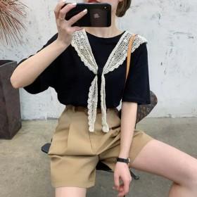 蕾丝勾花披肩打结t恤女夏季2020新款韩版宽松短