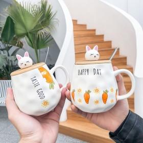 新品韩式可爱卡通兔子陶瓷马克杯带盖勺胡萝卜女生早餐