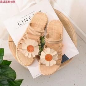 小清新雏菊花朵两穿凉拖鞋